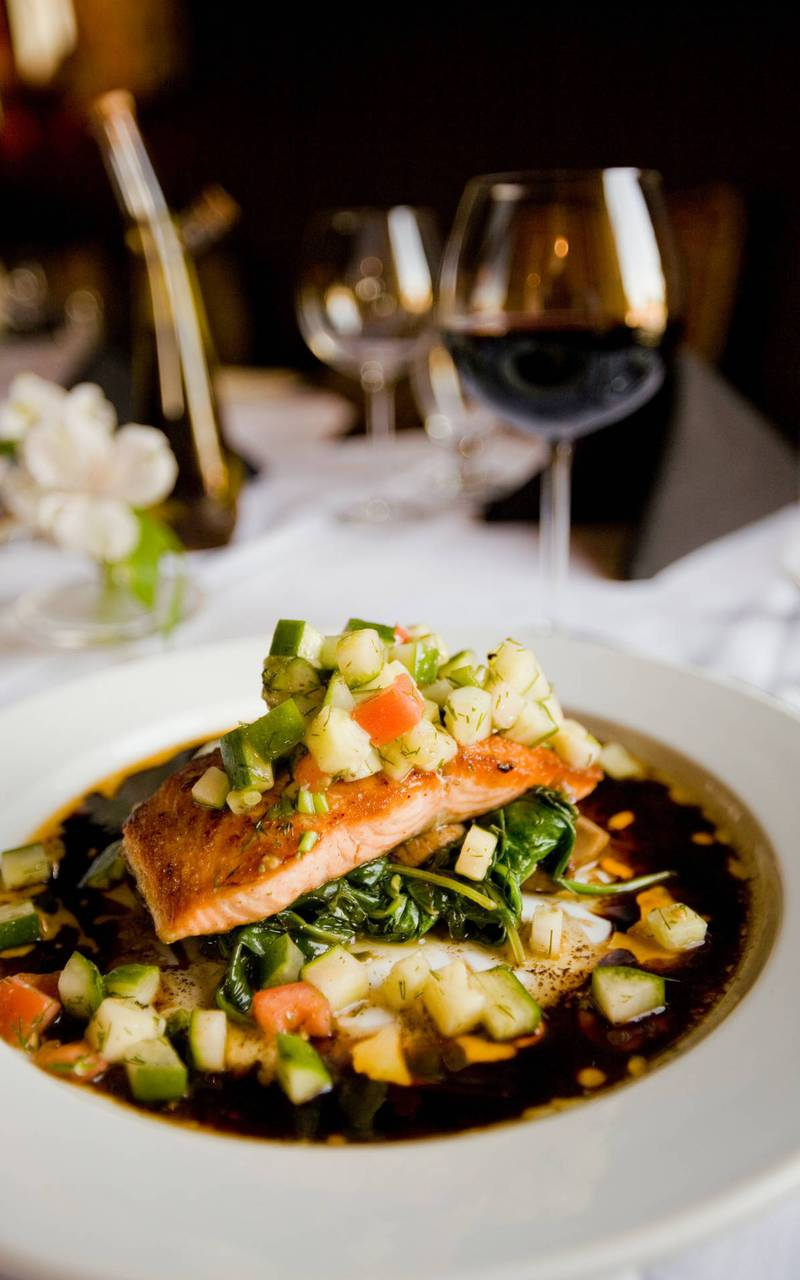 Salmon on a bed of vegetables, restaurant cannes french riviera, Juliana Hotel Cannes.